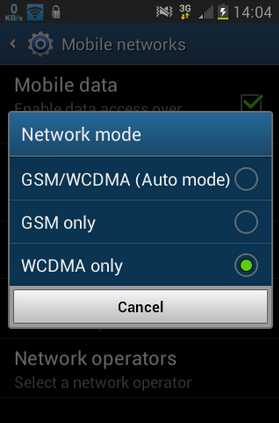 mode jaringan wcdma only