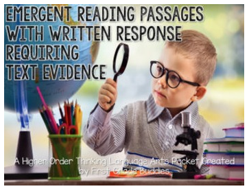http://www.teacherspayteachers.com/Product/Emergent-Reading-Passages-with-Written-Response-Requiring-Text-Based-Evidence-1490745