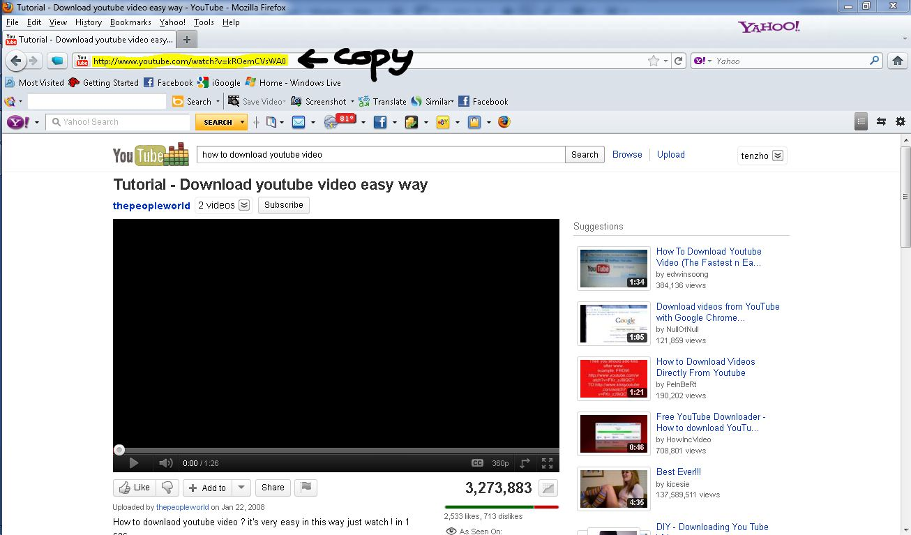 How To Download A Youtube Video Search For The Youtube Video And Copy The Youtube  Video
