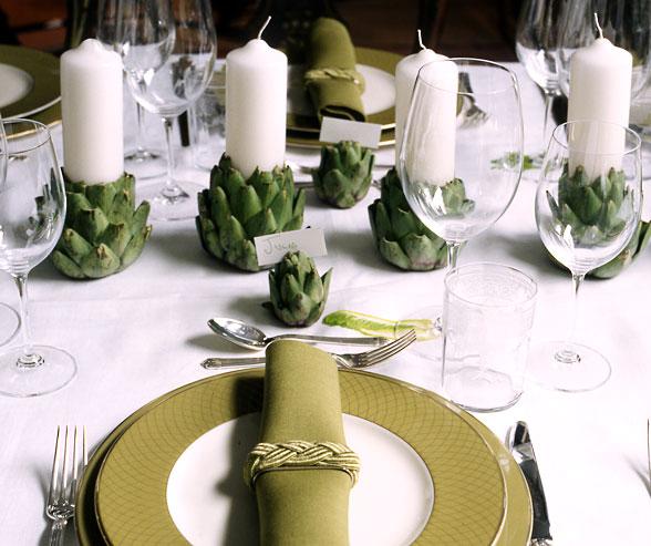 veggie centerpieces artichokes Colin Cowie