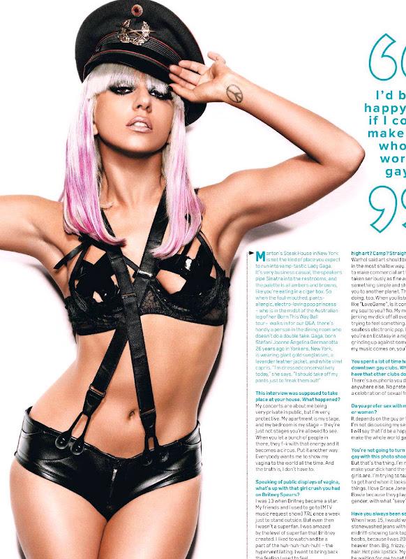 Lady Gaga posing in a leather underwear and bra
