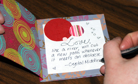 Writing Love Quotes Inside a DIY Handmade Valentine's Day Book
