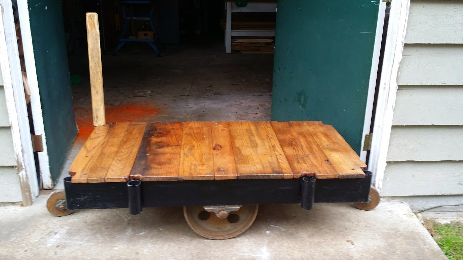 Industrial factory cart reconditioned for 100 year old oak table