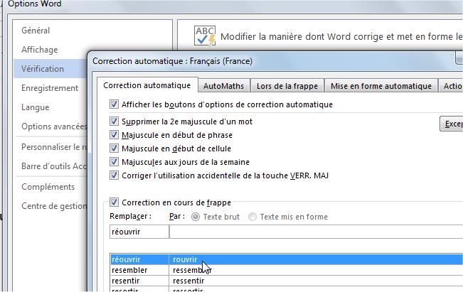 capture d'écran Word 2013 - options de correction automatique