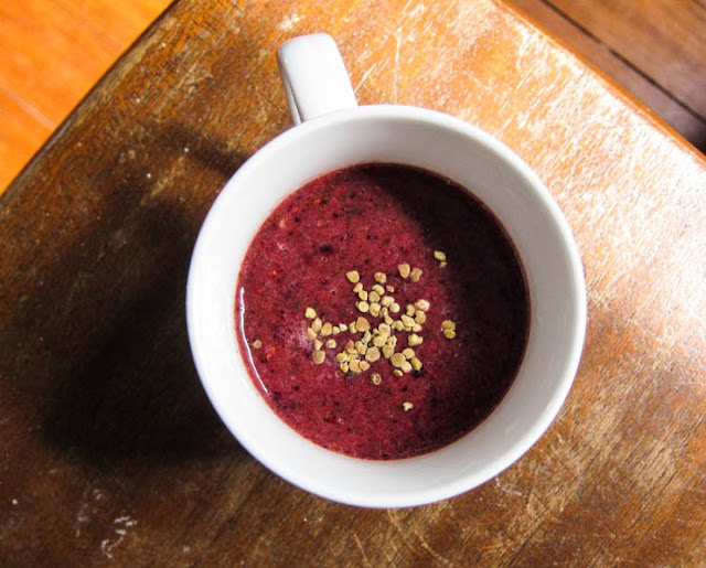 spring, hayfever, raw honey, bee pollen, and a berry smoothie