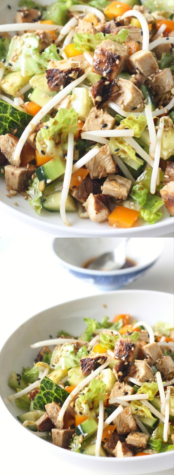Chinese Honey BBQ Chicken Salad with Soy-Garlic Dressing by SeasonWithSpice.com