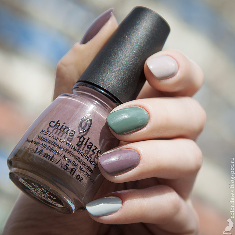 Anny #364 Green Cottage + China Glaze Below Deck + Golden Rose Wow! #07 + JinSoon Kookie White