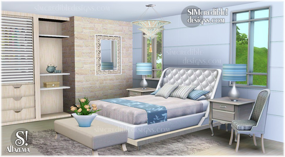 My sims 3 blog alfazema bedroom set by simcredible designs for Bedroom designs sims 4