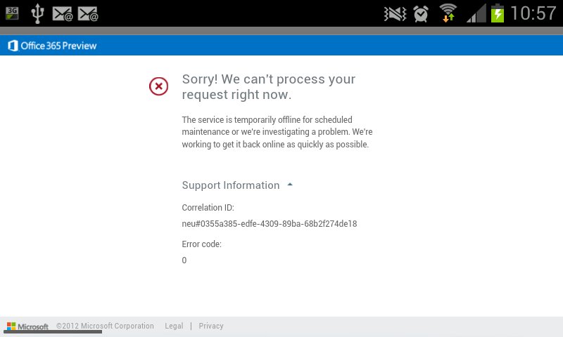 Office 365 Portal Login Error on Mobile Devices