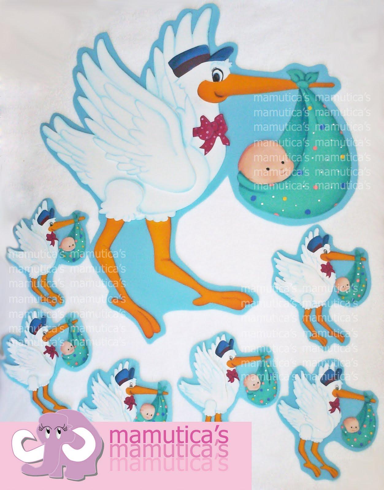 Tarjetas de cigüeña para baby shower - Imagui