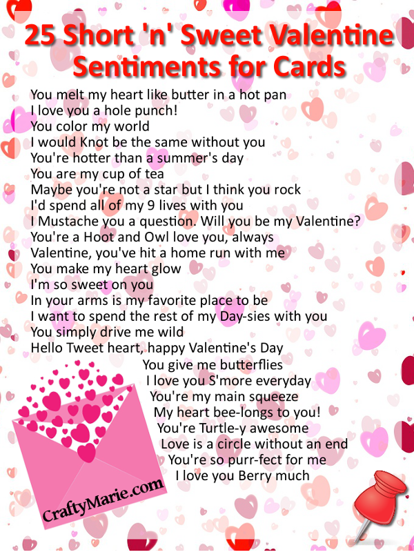 Craftymarie 25 cute valentine sentiments for cards for Cute valentine sayings