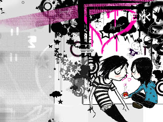 EMO Couple Having A Coffee Dark Gothic Wallpaper