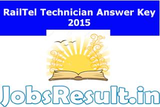 RailTel Technician Answer Key 2015