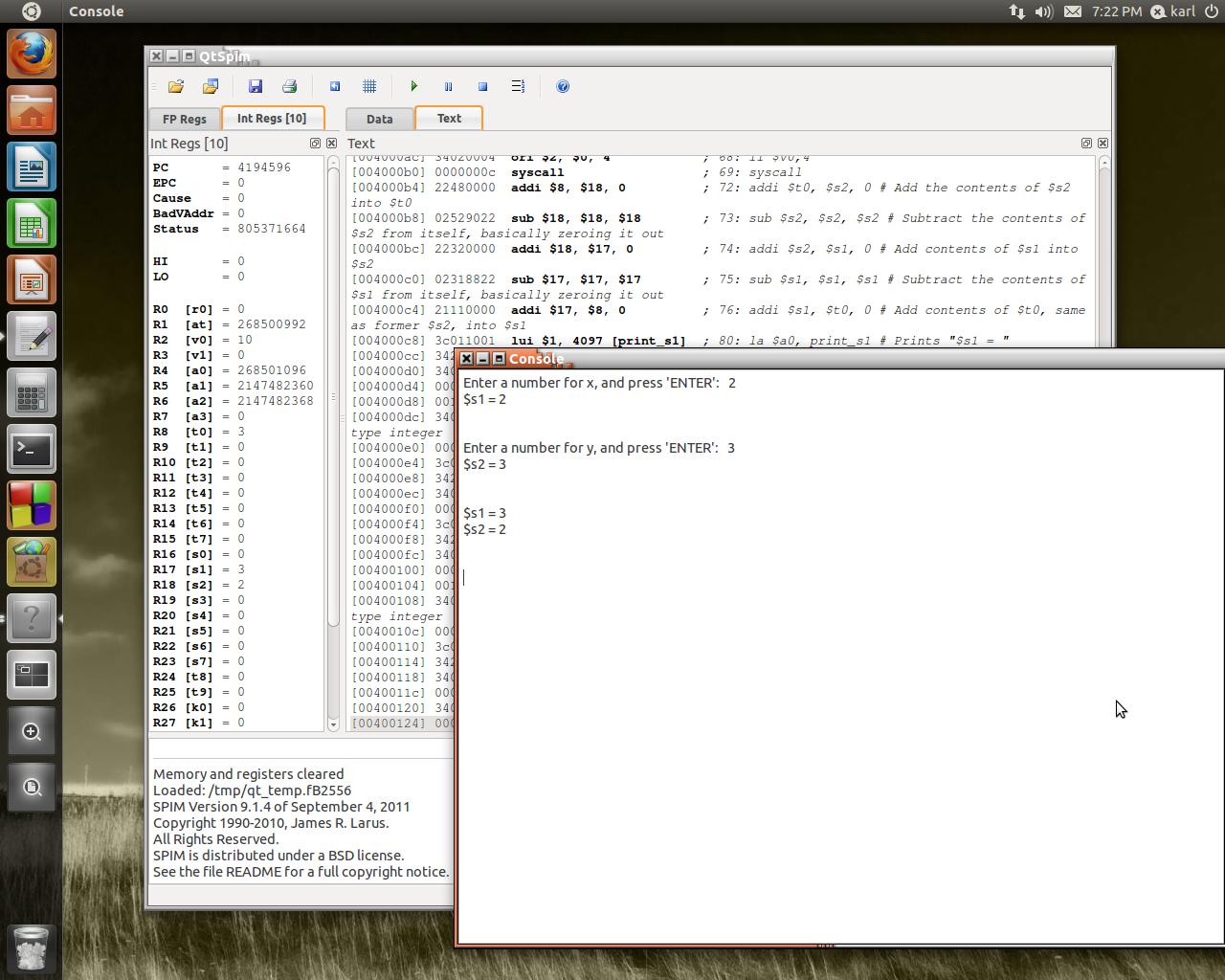 MIPS 32 Register Swap Example Using QtSPIM
