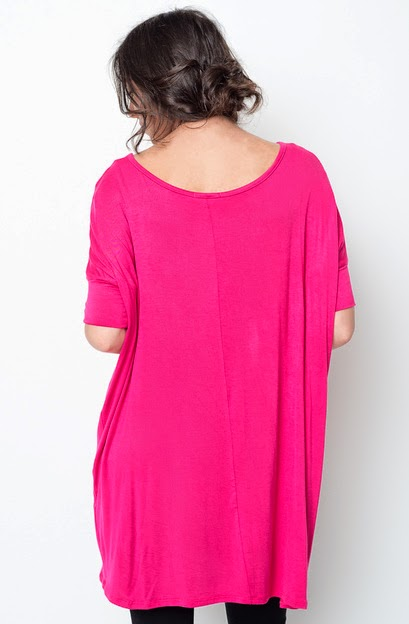 Buy online short sleeve  fuchsia ballet sleeve tunic for women