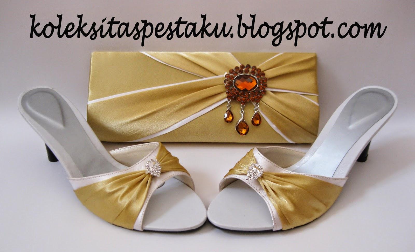 Perpaduan Putih dan Gold Matching Tas Pesta dan Slop