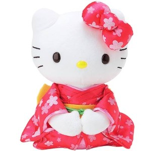 Hello Kitty soft plush toy in geisha costume