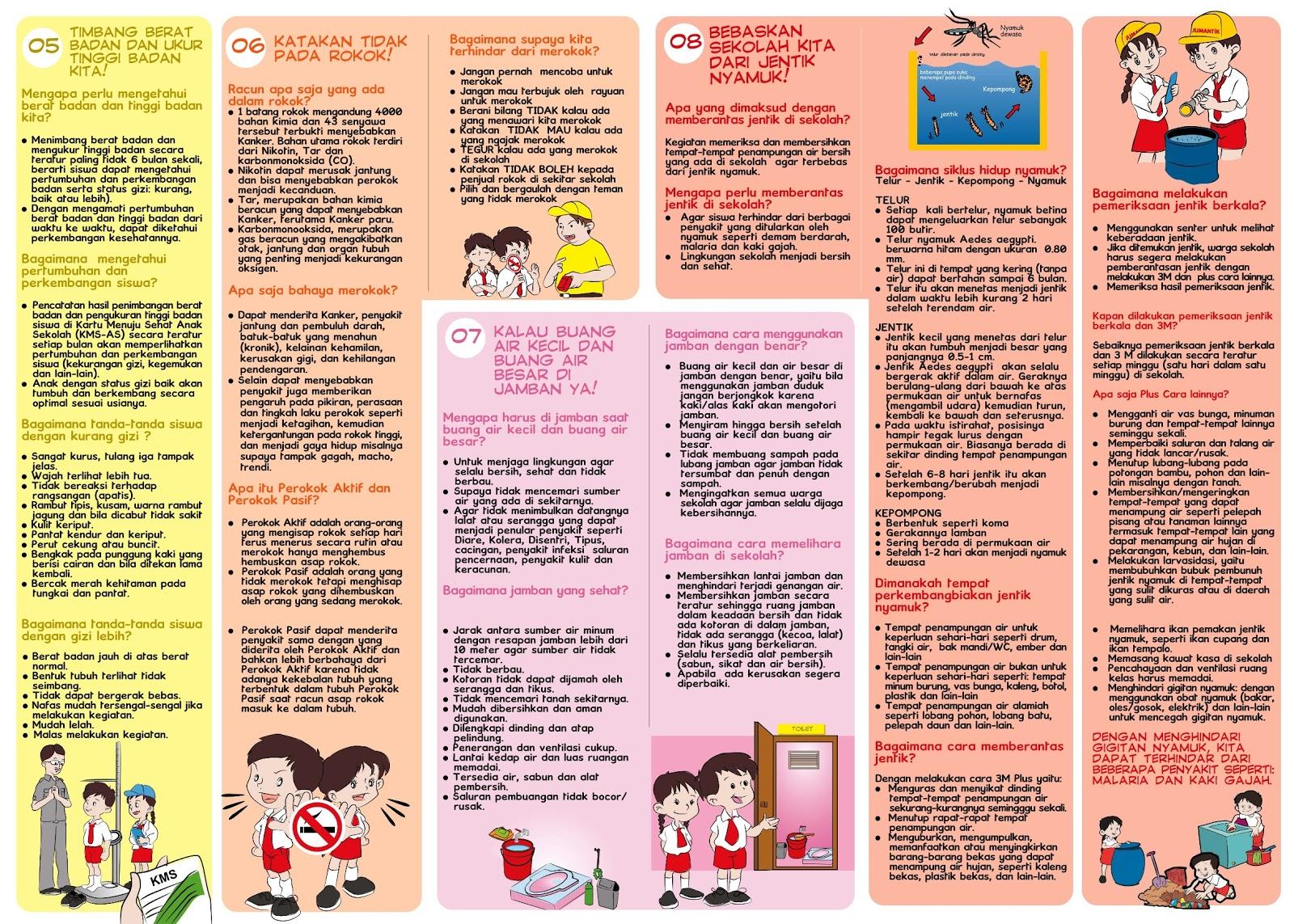 Berikut ini adalah leaflet PHBS Sekolah buatan Pusat Promosi Kesehatan