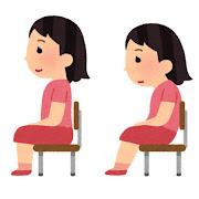 姿勢の良い・姿勢の悪い椅子に座る女の子のイラスト