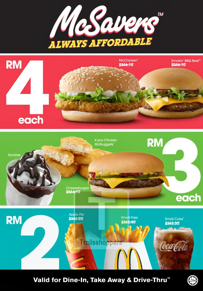 McDonald's is offering their McSavers for as low as RM2