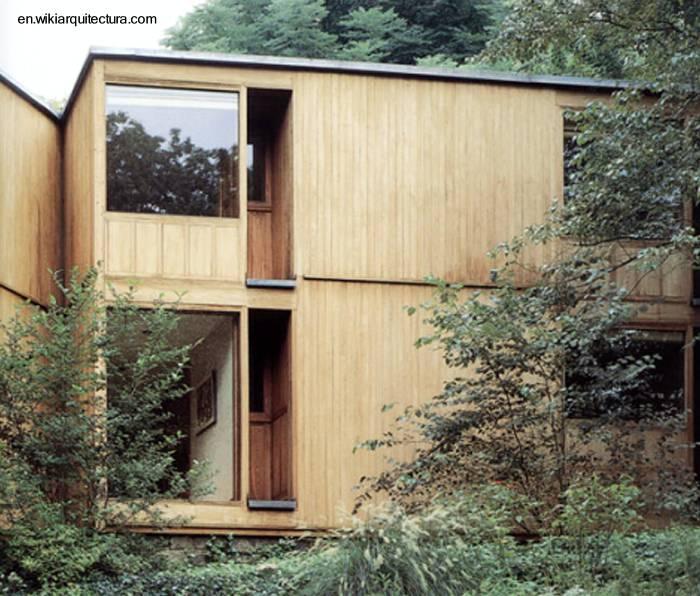 Arquitectura de casas casa cubo moderna de madera y piedra - Casas piedra y madera ...