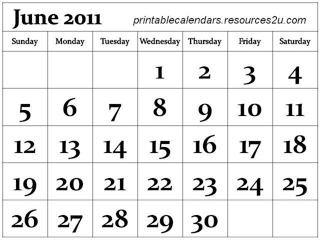 june calendar 2011 printable. Calendar 2011 June printable