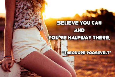 facebook Poste image quotes (Believe you can and you're halfway there.)
