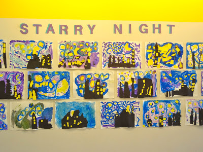 Talking Walls art with kids: Starry Night for 2nd grade