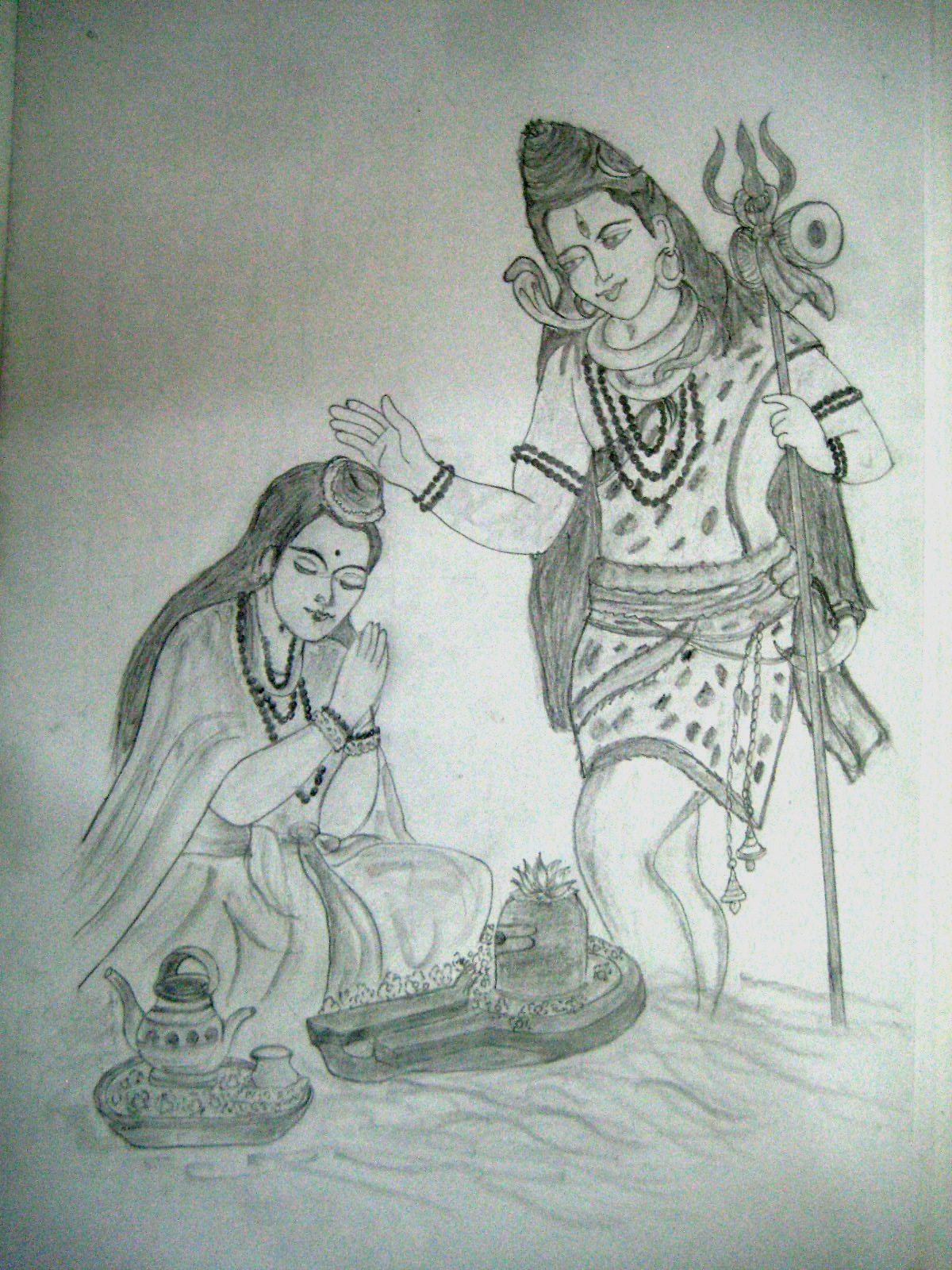 Varthini arts lord shiva pencil drawing