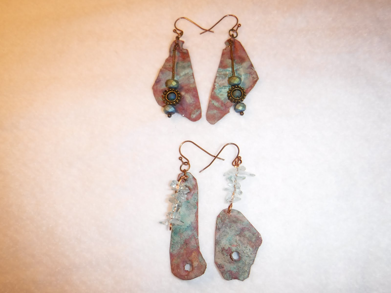 Copper roof earrings