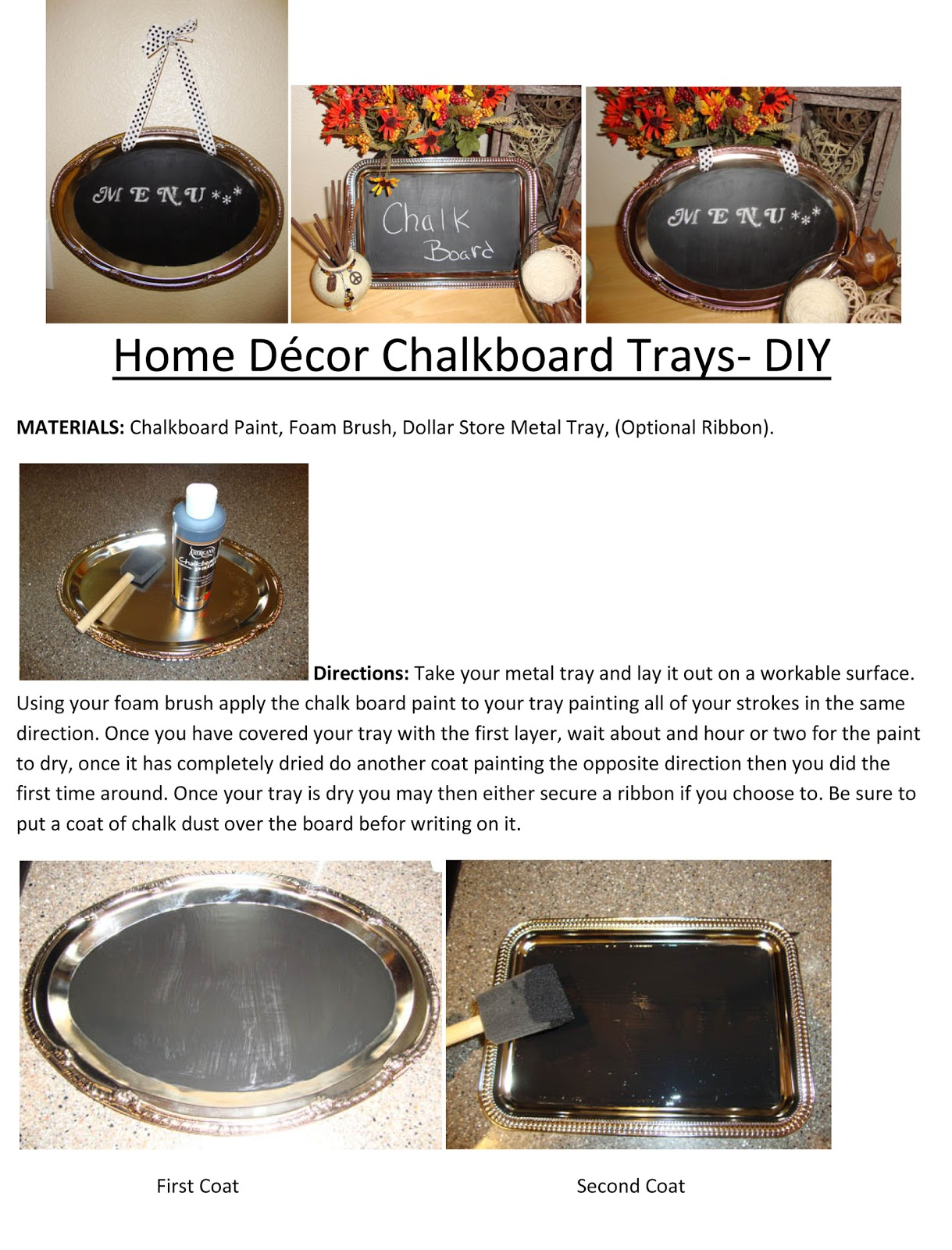 Home Decor Chalkboard Trays Diy