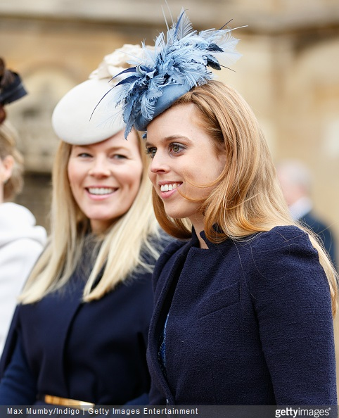 Autumn Phillips and Princess Beatrice attend the Easter Matins service at St George's Chapel, Windsor Castle
