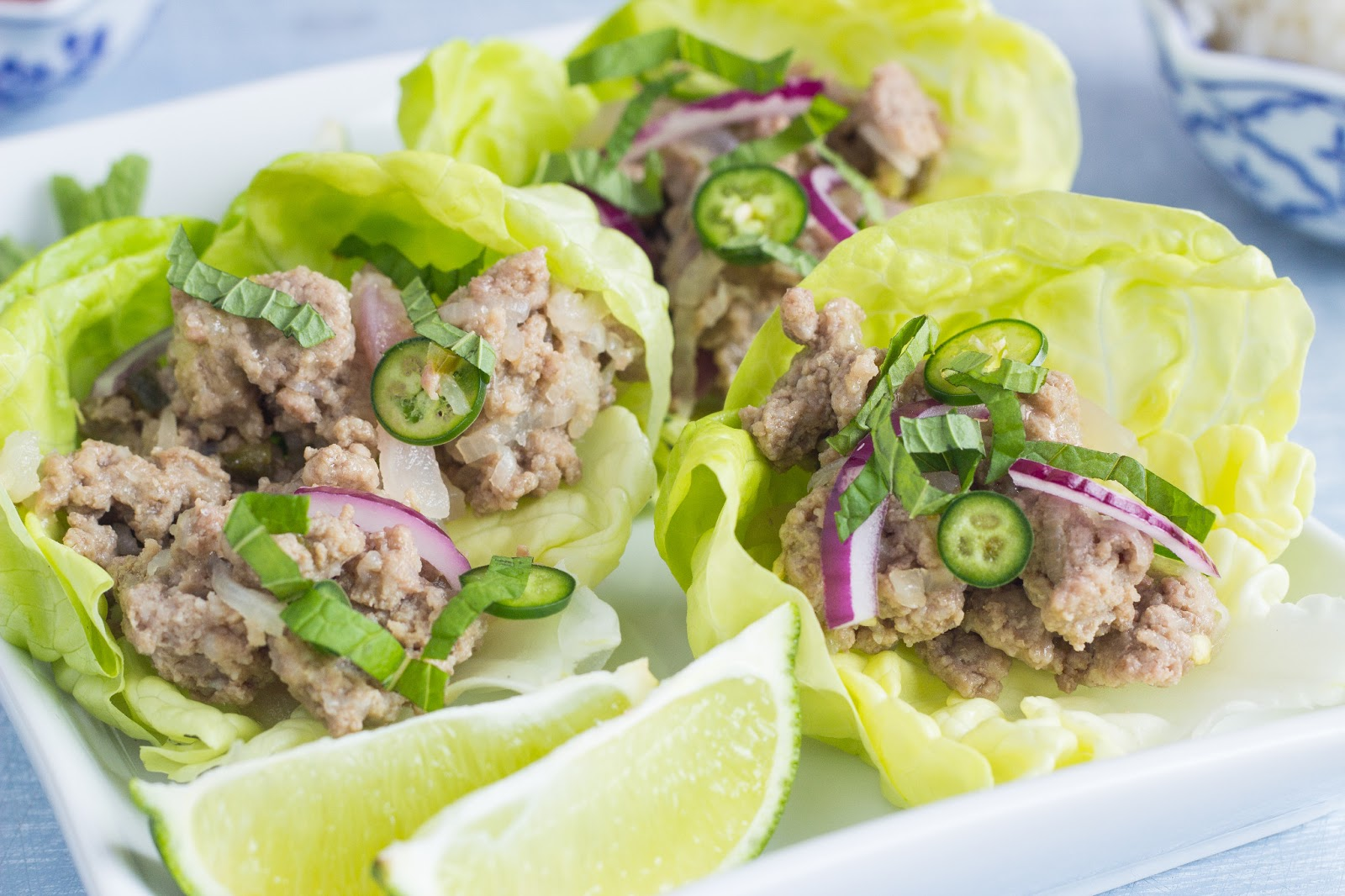 ... larb thai chicken larb scrambled egg wrap pork larb lettuce wrap