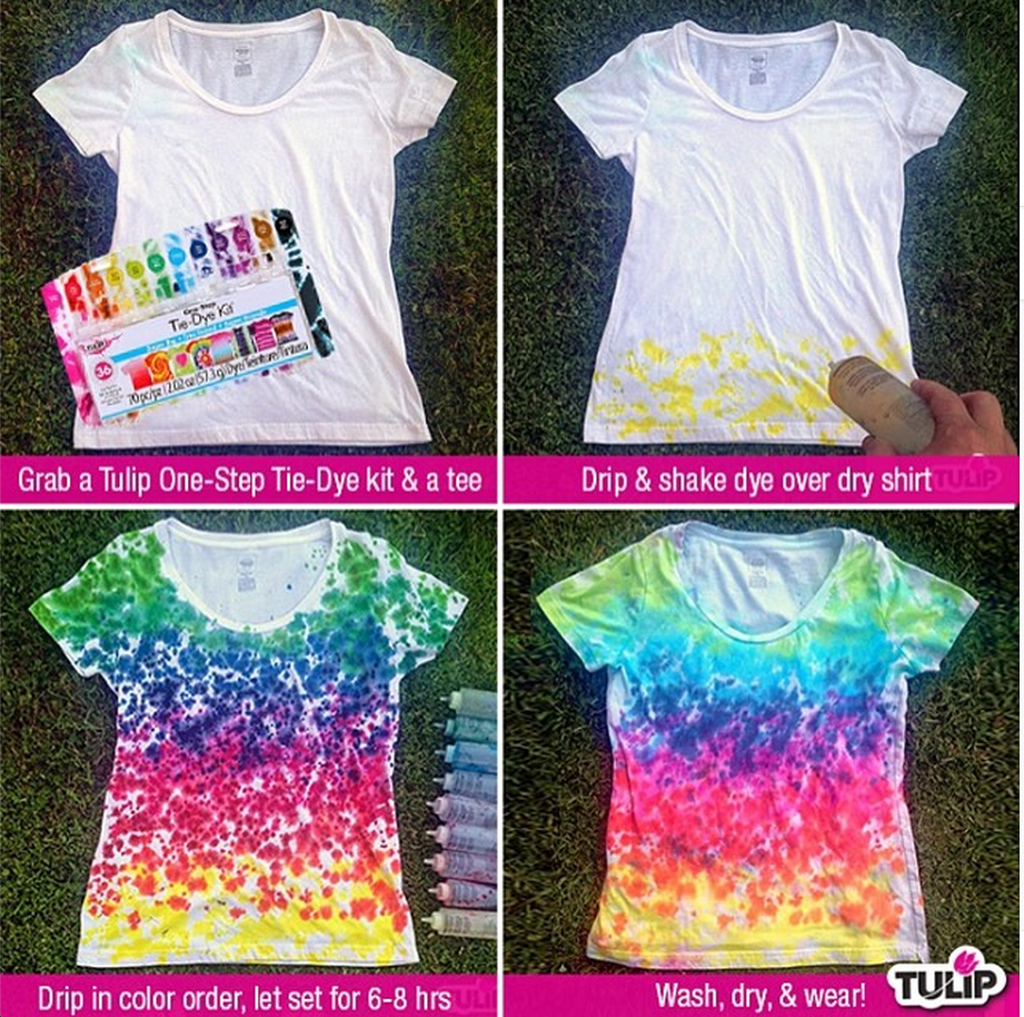Rainbow drip tie dye shirt ilovetocreate for Making a tie dye shirt