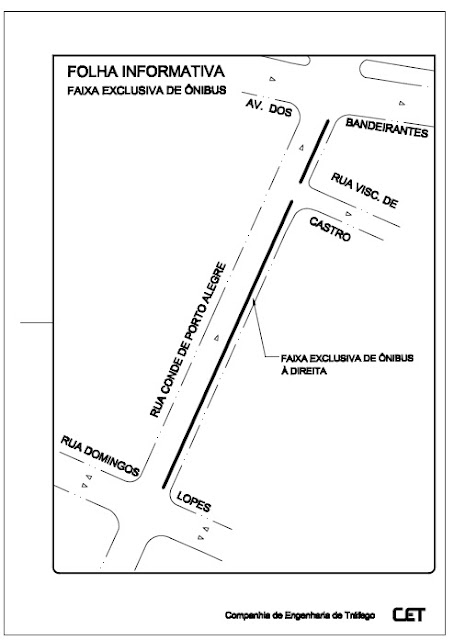 Faixa exclusiva na Rua Conde de Porto Alegre implantada em 18/01