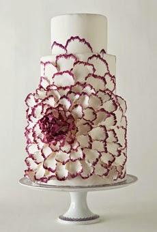 white cake with handpainted peony