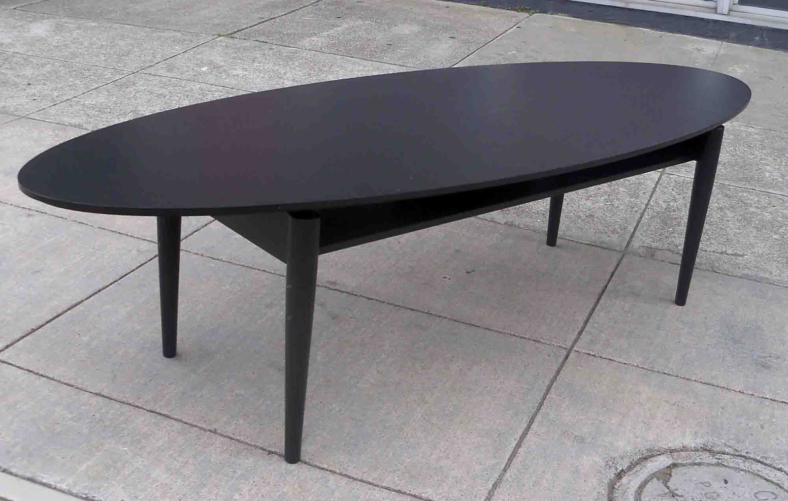 Uhuru Furniture Collectibles Sold Black Oval Coffee Table 50