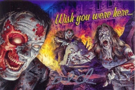 Special Zombies!!! 13: DEFCON Z 'Wish you were here...' postcard featuring original artwork and signed by Zombies!!! illustrator Dave Aikins
