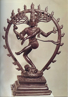 Shiva Nataraja, Lord of the Dance, dancing on the body of a dwarf demon. His victory over the spirit of evil is of cosmic significance, for the destruction of evil presages recreation and the establishment of divine order. The surrounding halo both honours Shiva and represents the cycle of creation, destruction and rebirth. Tenth-century bronze, from Madras. Victoria and Albert. Museum, London.