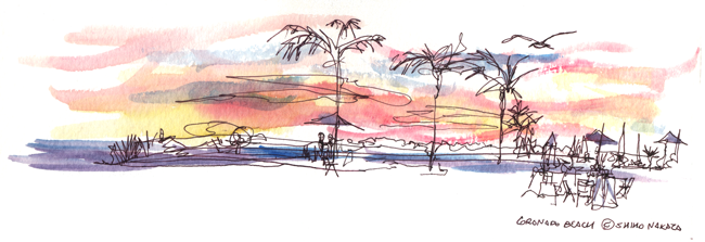 "Shiho Nakaza ""San Diego"" beach watercolor sketch Coronado"
