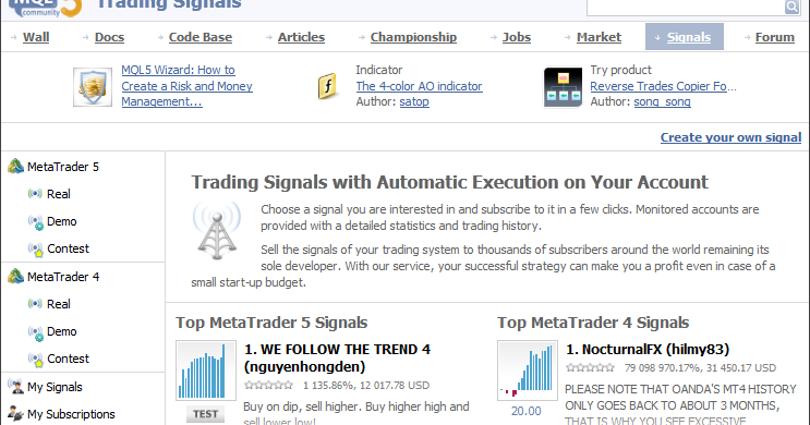 Trading signals subscription