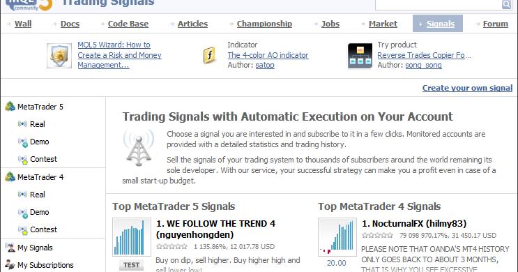 Trading signals subscription