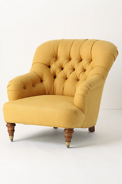 ANTHROPOLOGIE LINEN CORRIGAN CHAIR IN OCHRE