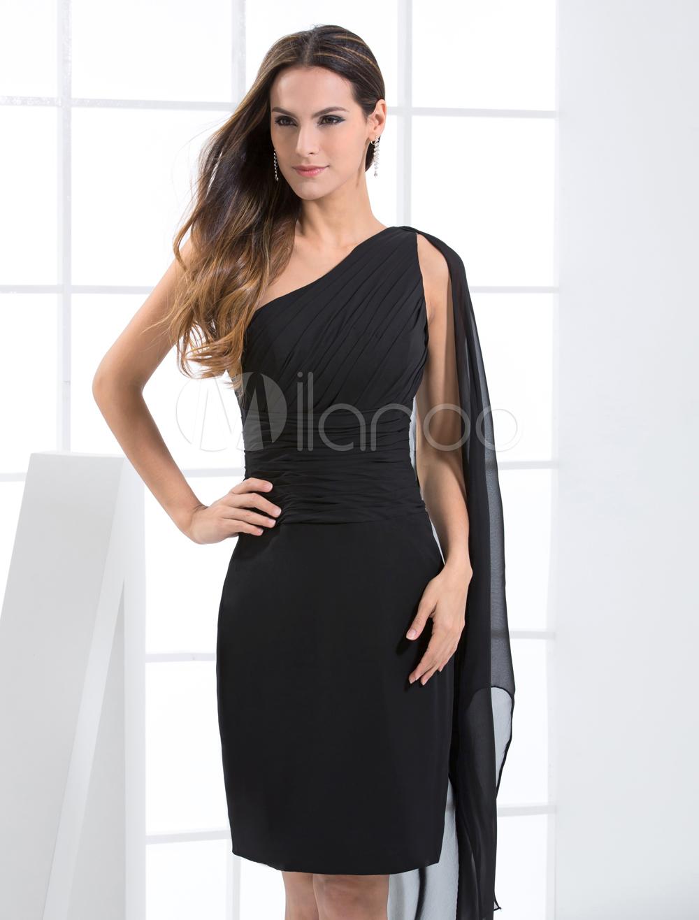 Robes sexy - Robe de soirée de retrouvaille fourreau noire à une épaule faite en moussline de soie