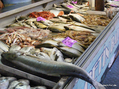 Various fish for sale at Fethiye fish market, Turkey