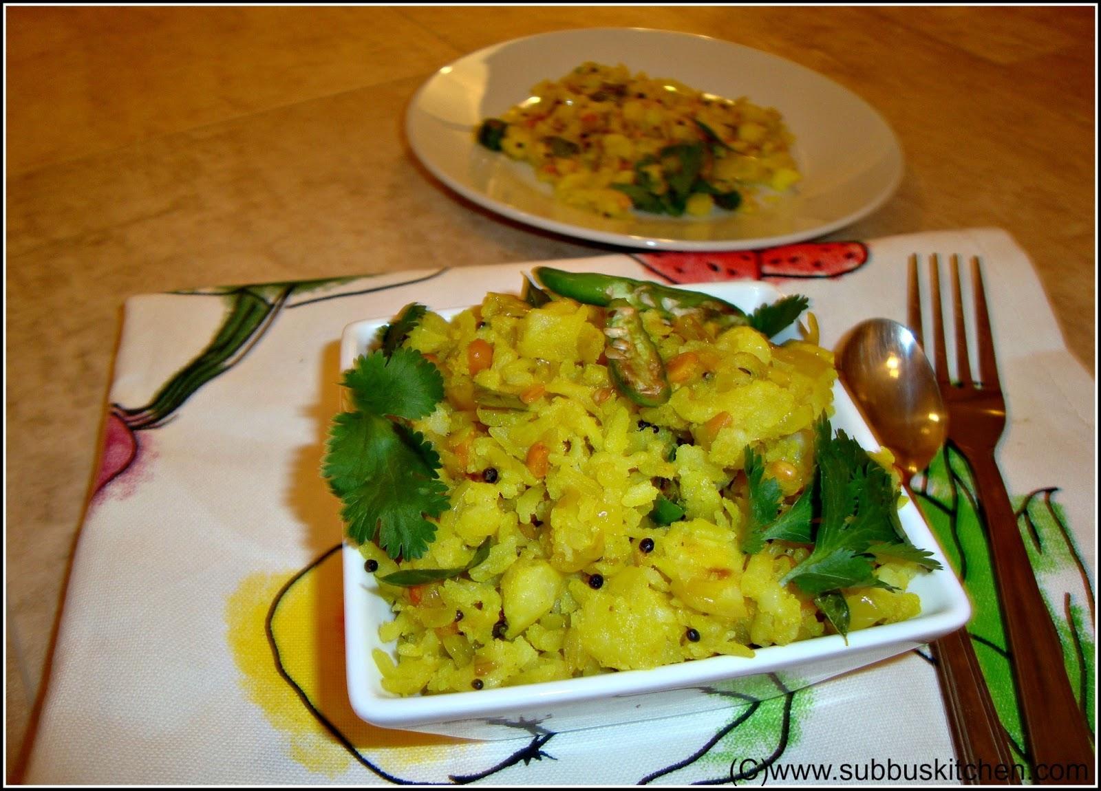 Aloo Poha/Urulaikizhangu Aval Upma/Potato Poha