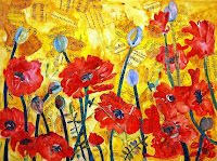 mixed media art with red poppies