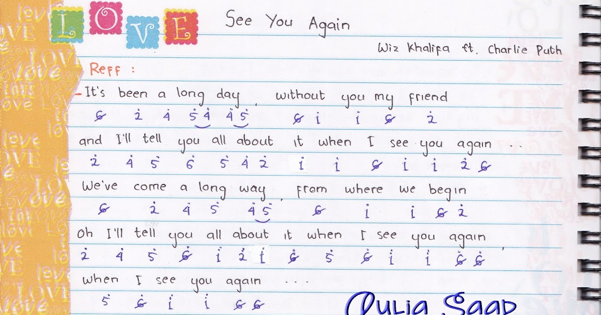 Not Angka Lagu See You Again