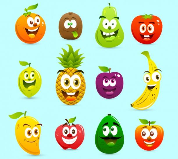 conjunto de frutas animadas diseños en linea
