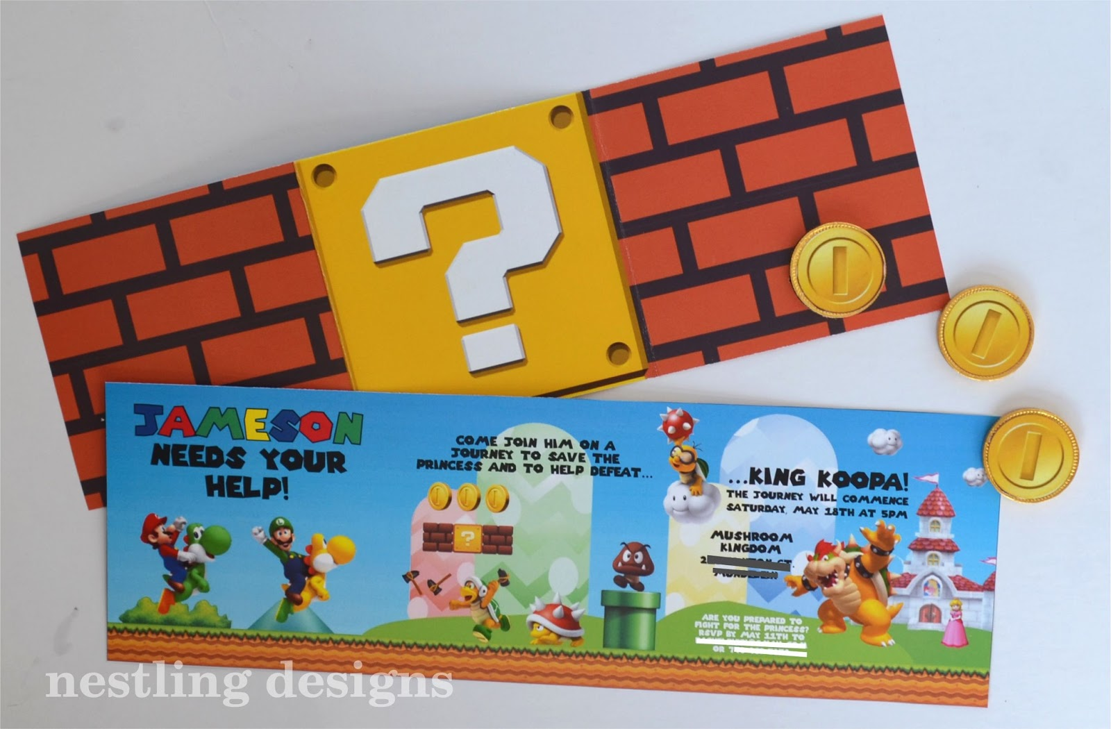 Nestling Super Mario Invitations